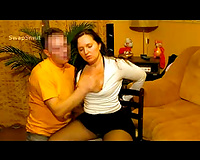 Tied to chair reacting to stranger touching and engulfing her nips