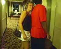 Sucking in the hotel hallway