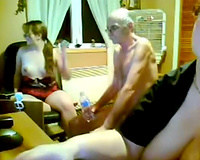Mother And Daughter Sharing Grandpas Cock On Web Camera