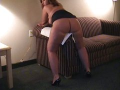 Chubby Slut Wife Wants Black Cock Is Rubbing Her Pussy On The Couch Arm To Get Off