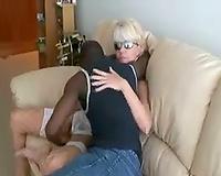 White Slutty Wife MILF with sunglasses enjoying BBC