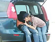 Slut Wife Blows Big Cock In The Car Gets Mouthful her Hubby Filmimg