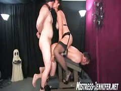 Forced bi-sex by gorgeous WIFE Mistress using two males for Her amusement