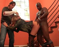 Bent over whore boned by dark and white