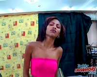 Petite doxy sucks and copulates large dark dong