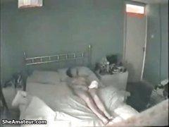 Hidden cam in my slutty wife bedroom catches her masturbating