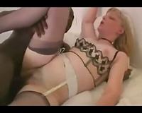 Mature blond enjoys a thick darksome weenie – interracial porn