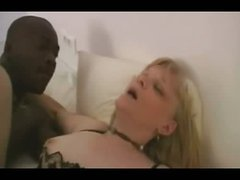 Mature blond enjoys a thick darksome weenie – interracial porn