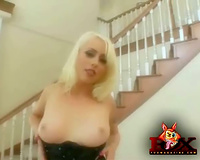 Milky white golden-haired sucks 2 dark dicks