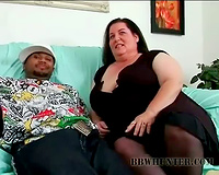 Fat aged doxy smothering a large dark dick