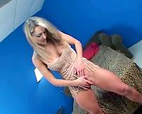 Leggy blond engulfing on a moist dark rod