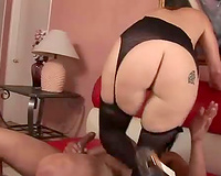 Milf in boots makes interracial porn