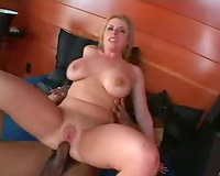 Nice knockers on a golden-haired having interracial sex