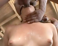 Interracial blowbang with total cutie