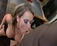 Courtney Cummz sucks on large dark rod
