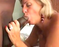 Two aged whores make interracial porn