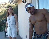 Black man caresses the hawt white horny white wife