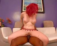 Curvy pierced twat milf redhead rides BBC
