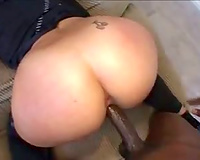 Cumshot on her obese booty after great fucking