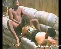 Retro cock-sucker blows 2 dark men