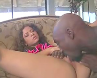 Curly hair BBC slut is all over him for dark dong