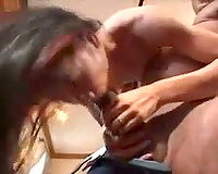 Thick dark pecker stretches Asian throat