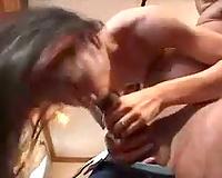Thick dark pecker stretches Asian throat