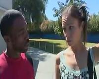 Black dude convinces slim white bitch to blow him