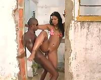 Big dick copulates Brazilian bikini wife outdoors