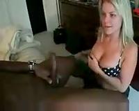 Cute blond non-professional sucks dark shlong