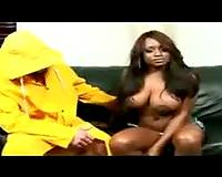 Black slutwife eaten out by man in rain slicker