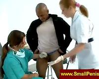 Nurses jerking a diminutive 10-Pounder