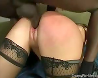 Black ramrod inside nylons white bitch from behind