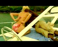 Pretty white housewife enjoys dark guy on a boat