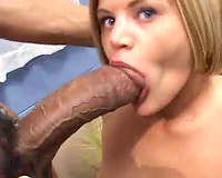 Huge dark penis fucking her face hole