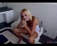 Babe in the washroom blows dark man