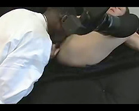Sweet shaggy haired wife gangbanged by a excited dark hunk – non-professional interracial