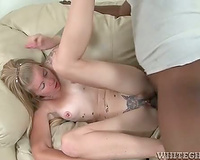 Tattooed and freckled golden-haired drilled by BBC