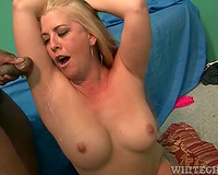 Black fellow cums in her armpit