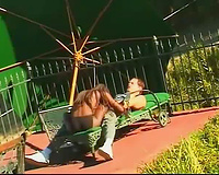 Sucking and sex with dark honey outdoors