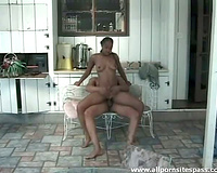 Black legal age teenager bawdy cleft sluggishly rides rock hard schlong