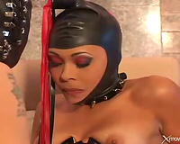 Kinky latex outfit on a dark wife doing anal porn