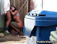 Slutty Wife Quick Public Blowjob With  Stranger and Cumshot by the Dumpster