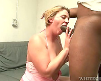 Fatty gives wonderful head to a large dark shlong