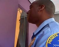 Black cop copulates teenager in pink socks