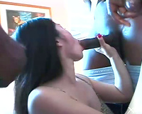 Whore has double penetration with dark ramrods