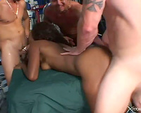 Ebony fur pie and anal opening banged by ramrods