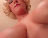 Tit groping golden-haired horny white wife gives hot blow job