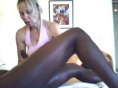 My slutty wife  jerking off a her black lover