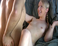 Innocent blond younger girlfriend spreading her legs letting me in